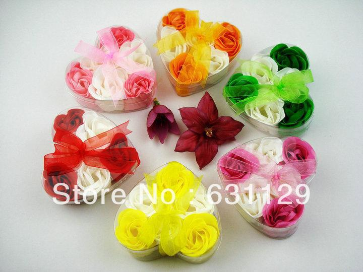 gift washing cleaning bath rose Flower paper petals soap gift organtic wedding favor mulit color 6pc/set bowknot free shipping(China (Mainland))