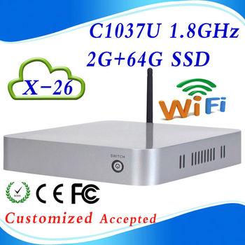In store support  embedded OS x-26 C1037U Celeron Dual-core  2g ram 64g ssd computer case windows mini pc mini pc windows xp