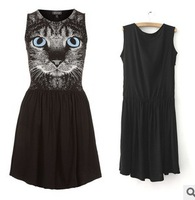 Free Shipping Women's European and American style Cat face charming dress,M,L size