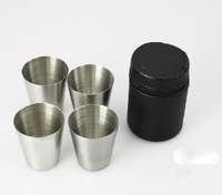New Arrival 304 Stainless Steel Cups 30ml Mini Drinking Cup Set 4 Cups & 1 Bag Hip Flask Cup Drop Shipping
