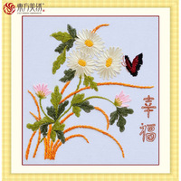 Ribbon embroidery paintings print 3d cross stitch butterflies