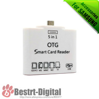 OTG Smart Card Reader Connection Kit for Samsung Galaxy S4 & Pad, OTG Funtion, Support SDHC MS MMC M2 TF, One USB 2.0