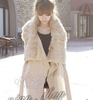 2013 free shipping ,Thermal winterisation faux woolen slim female outerwear beige colored overcoat