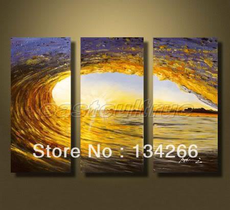 Modern Art Original Handmade sol ondas rolam oceano pintura a óleo Seascape(China (Mainland))