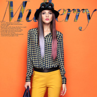 FREE SHIPPING 2013 long-sleeve plaid shirt mulberry silk elegant women's autumn basic shirt slim