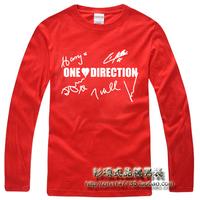 Shirt one-way band signature t-shirt one direction long-sleeve basic shirt 1d men's