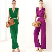 2014 Women's elegant slim formal ol deep V-neck straight jumpsuits/Jump Suit no belt,Free Shipping
