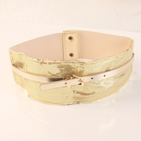 Black belt female fashion all-match belt wide gold paillette decoration personalized elastic waist y950