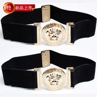 Fashion vintage elastic belt women's all-match fashion wide belt decoration autumn and winter cummerbund black