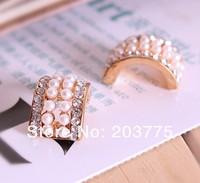 Free Shipping!50pcs/lot 10*18MM arc metal rhinestone pearl button for wedding embellishment hair bow DIY accessory