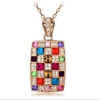 Vintage Bohemian Colorful fashion Rainbow Crystal Necklace 12Pcs/Lot JN5112