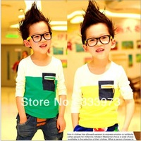 HOT SALE Free Shipping Jeans Pocket Cotton T-shirt Autumn And Spring Cotton Boys Clothing Children Clothing Boys Clothes