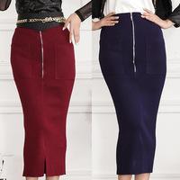 The new 2014 zipper knitting bag hip bust  of tall waist split. Free shipping