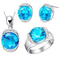 NCS095 Fashion Blue Purple Zircon Jewelry Sets White Gold Plated Moda Circon de la joyeria Joias Free Shipping