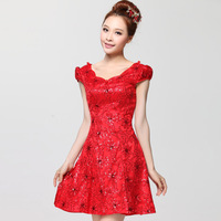 free shipping 2013 summer bridal wedding fashion red short design slim cheongsam formal dress evening dress