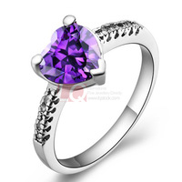 LQ Fine Jewelry Fashion Women Rings Sterling Silver 925 Ring Platinum Plated Prong Set Natural Amethyst Stone Sparking Rings