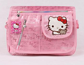 Free Shipping Lovely Kids Pupils Girls Hello Kitty Pink Cartoon Leisure Satchel Shoulder Bag