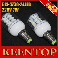 High Quality ON SALES 24 LED 7W Bulb E14 Corn Lamp 220-240V Cool Whit/Warm White Energy Saving corn light 4Pcs/Lot