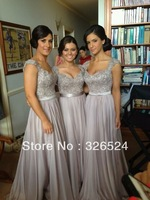 New Fashion V neck formal evening see through back sexy  Sequins a line Long Prom party Dresses Ho-1