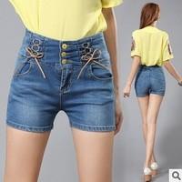 2013 women high grade single breasted short  jeans female high waist denim shorts  plus size 31 32