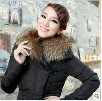 Nbrcc 2014 large pocket fur collar medium-long thickening slim down coat female  coat women fur collar