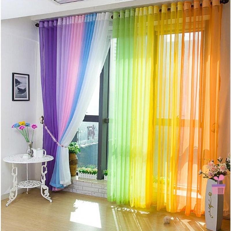 Тюль радуга в интерьере фото