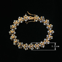 Free shipping 1PCS QJH50161016590 TOP Quality 18K Gold Plated Unique Design Radiation Shaped Flower Cubic Zircon Bracelet