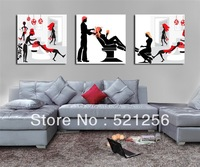 3 Pieces Free Shipping Modern Wall Oil Painting Abstract Barbershop Beauty Salon Wall Art Picture Paint on Canvas Prints A543