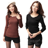 Women's medium-long slim basic shirt long-sleeve Women low collar knitted sweater