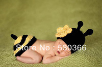 Free shipping The new style bee baby hat and shawl handmade crochet photography props newborn baby cap and shawl