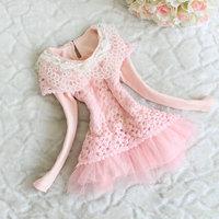 Free shipping! wholesale 2014 new Autumn  Girl Lace Flower long-sleeve miniskirt 81404
