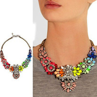 France Brand Jewelry,Neon Color Rhinestone Flower Statemenet Choker Necklace,100% Handmade Top Grade Bib Necklace,Free Shipping