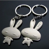 New rabbit alloy lover keychains bunny couple key ring 100 set/lot wedding favor gifts valentine present wholesale free shipping