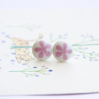 Stud Earring Jingdezhen 2013 New Ceramic Vintage Fashion Jewelry Accessories Wholesale Small Flower  Honey For Cute Girls Gift