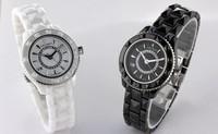New Fashion Women CZ Diamond Quartz White/Black Wristwatches Ceramic Brand Couple Watches Christmas / Valentine's Day gift