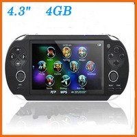 "new 2013 vedio game child Consoles 4.3"" TFT Screen 4GB handheld game consoles With Dual Joystick Camera FM Handheld GAME PLAYER"