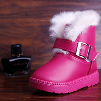 2013 winter children shoes cotton-padded shoes child snow boots medium-leg   children boots female child leather boot