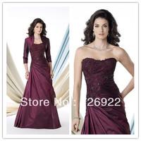 Customsize Free Shipping Bolero Jacket Long Plus Size Mother of the Bride Lace Dresses Formal Evening Dress