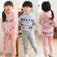 2014 Hot Sale Seconds Kill Freeshipping Free Shipping!2013 Autumn And Winter Bear Girls Clothing Child Casual Kids Fleece Set