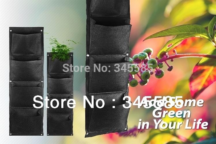 4 bolso Vertical de parede parede de poliéster plantio sacos flor crescer saco Viver sacos plantador interior jardim parede(China (Mainland))
