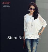 New Fashion Women's Batwing Top Dolman Lace Loose Long Sleeve T-Shirt Blouse Black White M-L free shipping