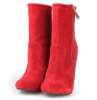 2013 New ankle black and red sheepskin zip boots women shoes 12cm high heels  boots woman