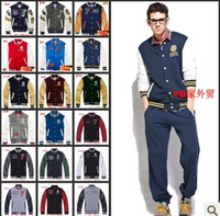 autumn and winter men hip hop clothing trend baseball jersey dress big yards thick PU leather sleeve jacket