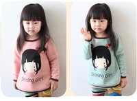 Children's clothing wholesale hot girl child long sleeve t shirt fashion cotton clothes autumn PInk/green