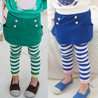 2014 Direct Selling Promotion Freeshipping Mid Elastic Waist Autumn Stripe Girls Clothing Child Baby Dress Trousers Long Kz-1517