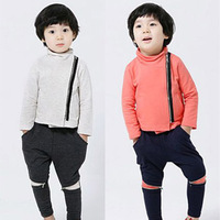2013 brand spring and autumn oblique zipper boys clothing baby kids sweatshirt harem pants set