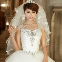 Wholesale Free Shipping 2013 Fashion Handmade Wedding Veils Sequined Flower Multi-Layer White Wedding Accessories