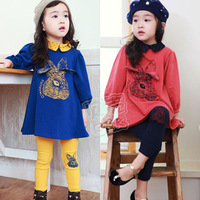 Free shipping!2013 christmas rabbit girls clothing child long-sleeve top legging kids set