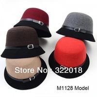10pcs NEW Fashion Designer Block Colors Belt Cloche Ladies Cap Camel Bucket Hat Elegant Lady Dress Cloche Caps Women Fedoras