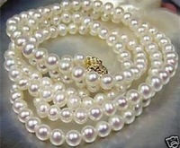 "Beautiful!7-8mm White Akoya Cultured Pearl Necklace 25""AA+DGH Free shipping"